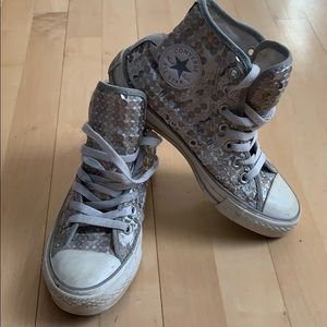 Converse All Star silver sequin high top sneakers